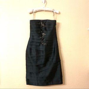Cartise Black Ribbon Lace Strapless Dress Sz 4